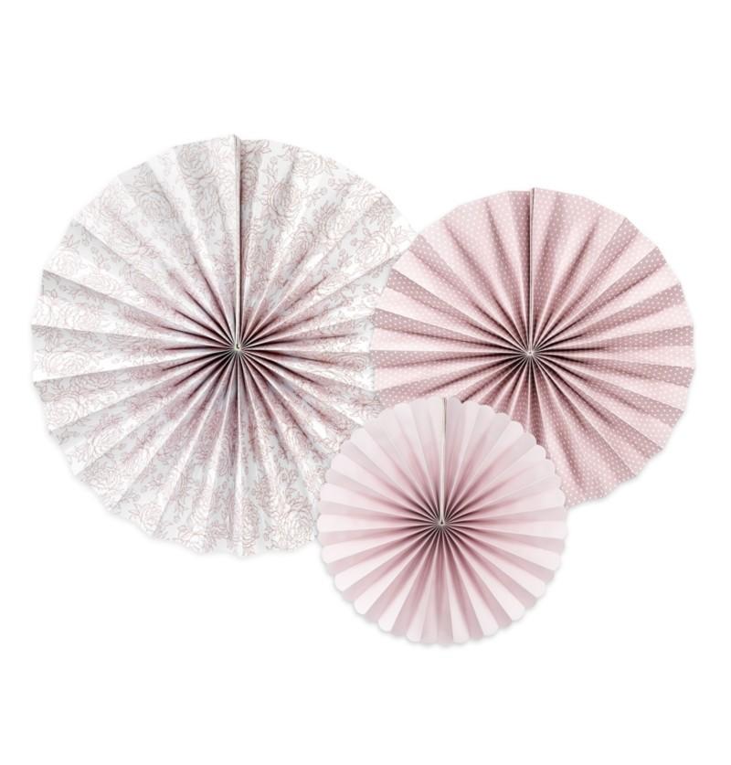 Set de 3 abanicos decorativos variados rosa pálido estampado de papel