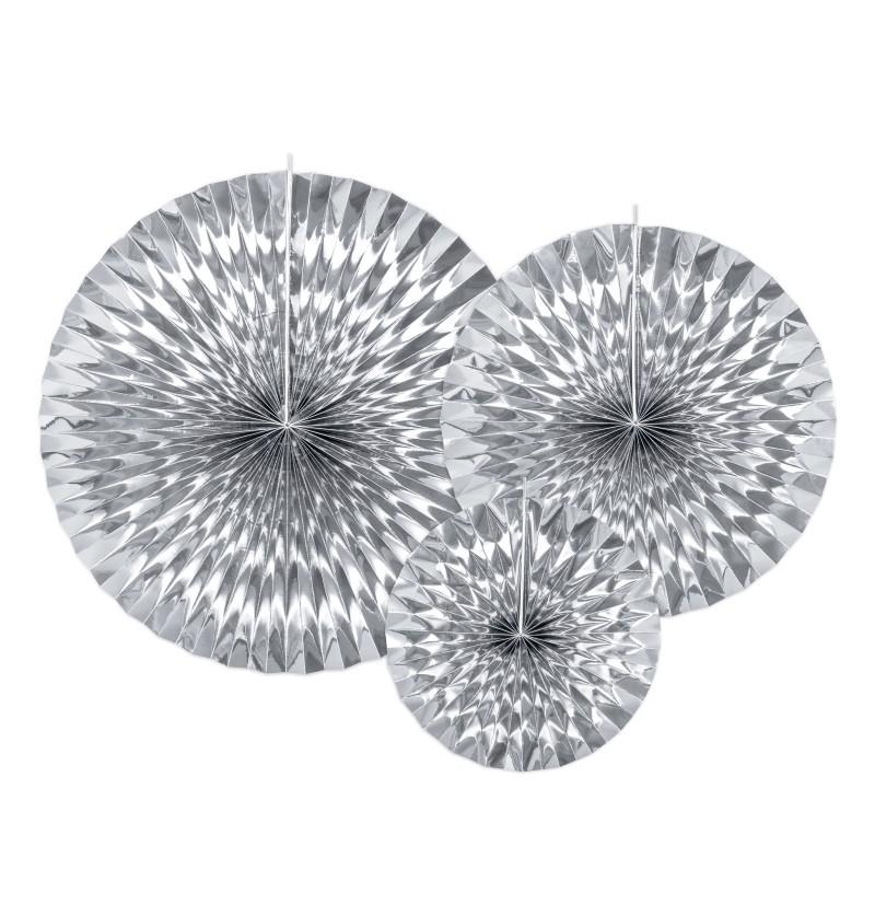 Set de 3 rosetones decorativos plateados de papel