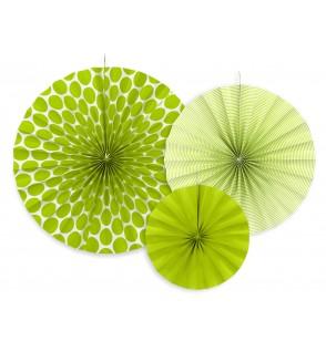 Set de 3 rosetones decorativos verdes de papel