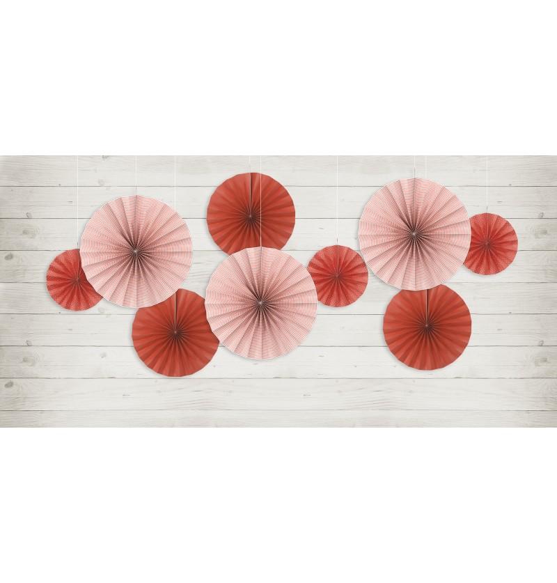 Set de 3 rosetones decorativos rojos de papel