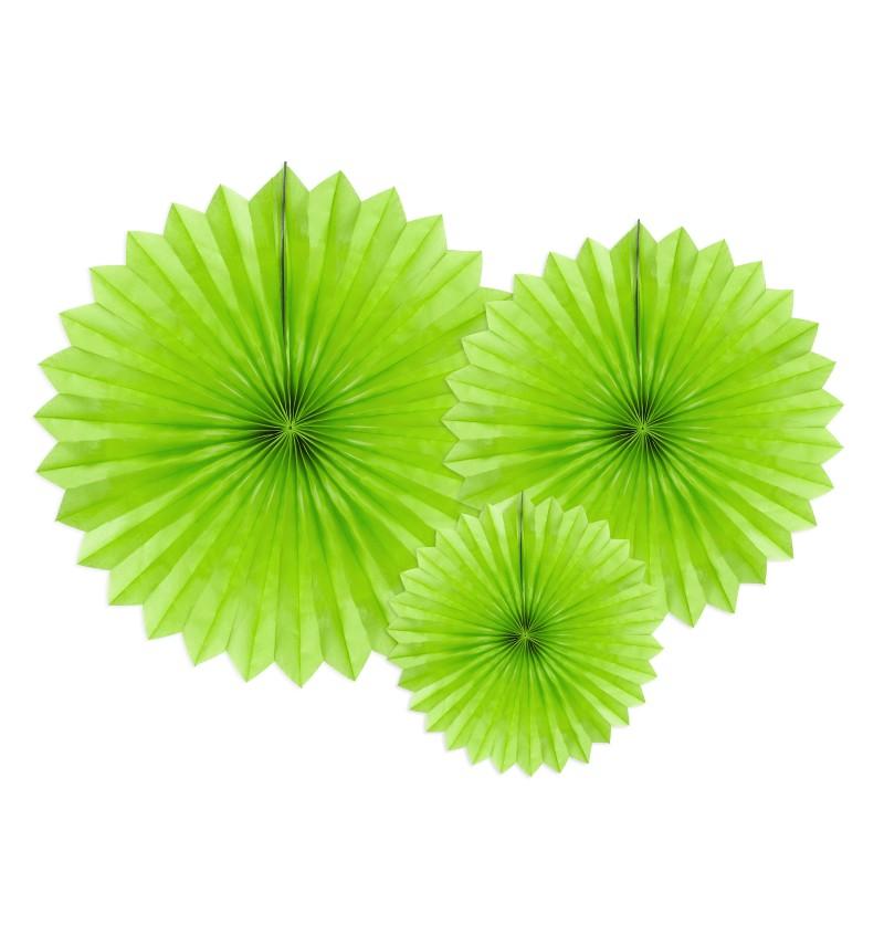 Set de 3 abanicos decorativos verdes de papel de 20 a 40 cm
