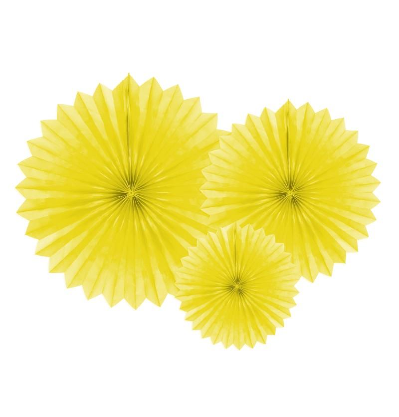 Set de 3 abanicos decorativos amarillos de papel de 20 a 40 cm