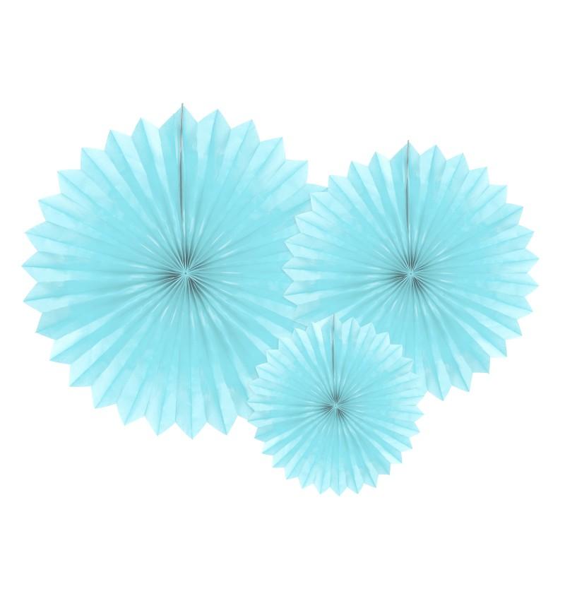 Set de 3 abanicos decorativos azul cielo de papel de 20 a 40 cm