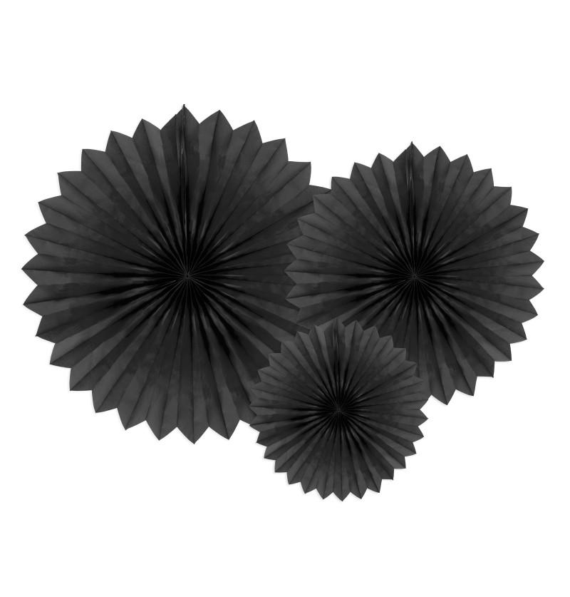 Set de 3 abanicos decorativos negros de papel de 20 a 40 cm