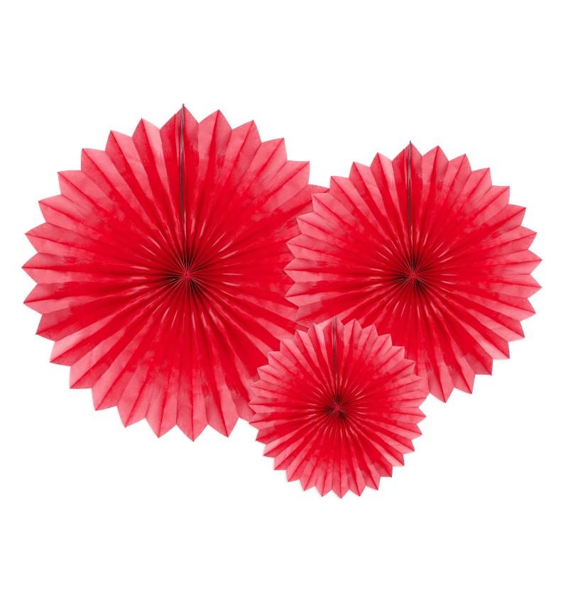 Set de 3 abanicos decorativos rojos de papel de 20 a 40 cm