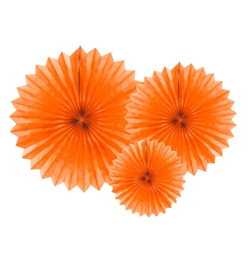 Set de 3 abanicos decorativos naranjas de papel de 20 a 40 cm