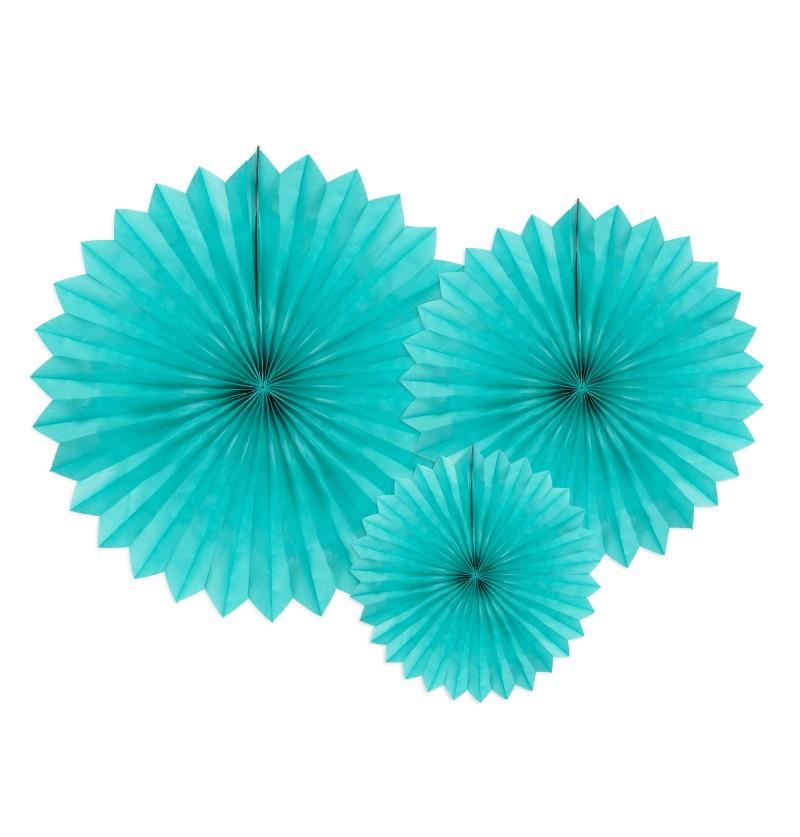 Set de 3 abanicos decorativos turquesas de papel de 20 a 40 cm