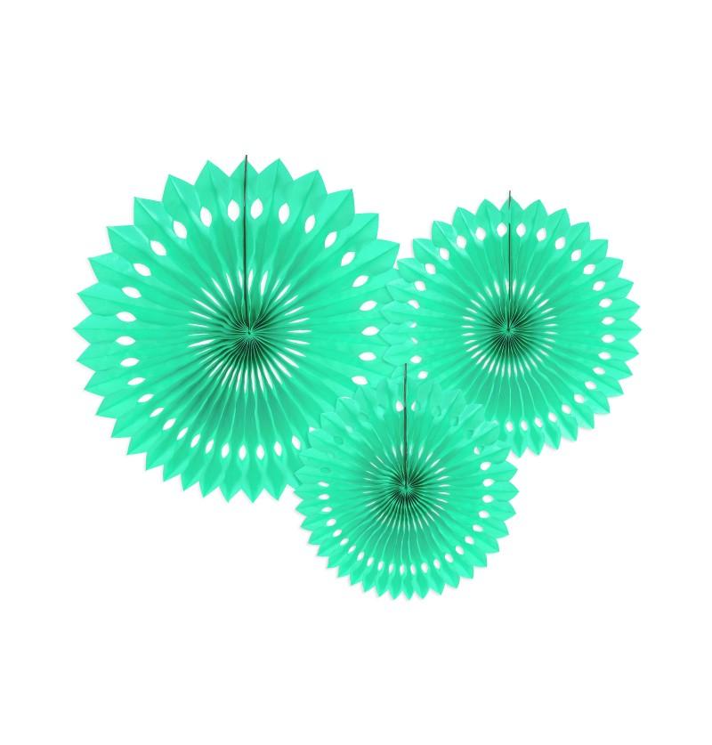 Set de 3 abanicos decorativos verde menta de papel de 20 a 30 cm