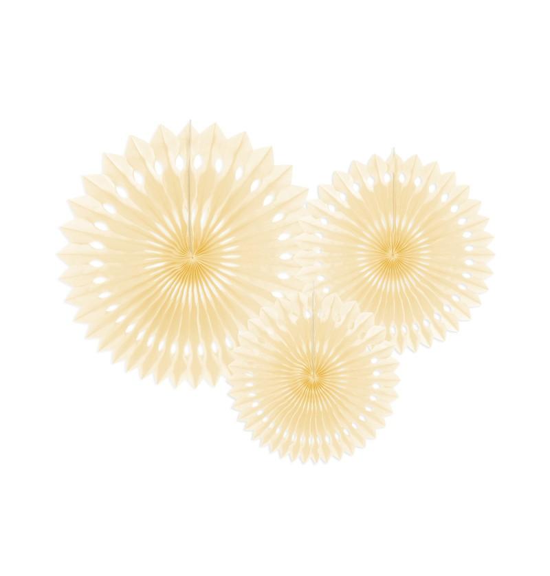 Set de 3 abanicos decorativos beiges de papel de 20 a 30 cm