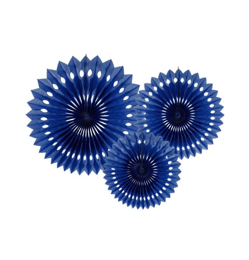 Set de 3 abanicos decorativos azul oscuro de papel de 20 a 30 cm