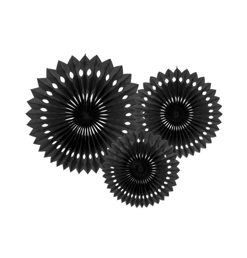 Set de 3 abanicos decorativos negros de papel de 20 a 30 cm
