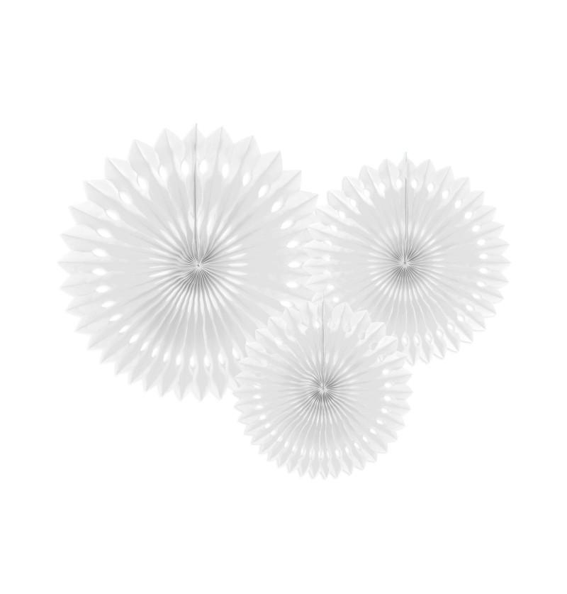 Set de 3 abanicos decorativos blancos de papel de 20 a 30 cm