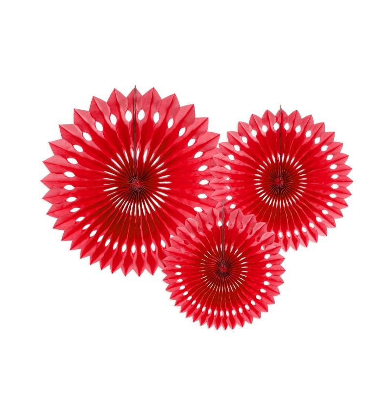 Set de 3 abanicos decorativos rojos de papel de 20 a 30 cm