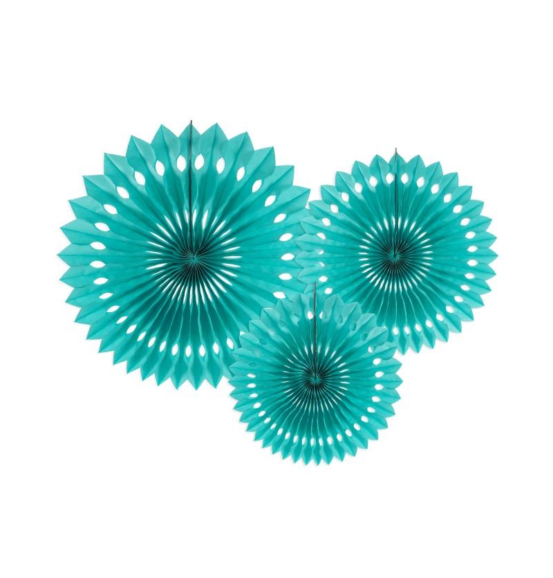 Set de 3 abanicos decorativos turquesas de papel de 20 a 30 cm