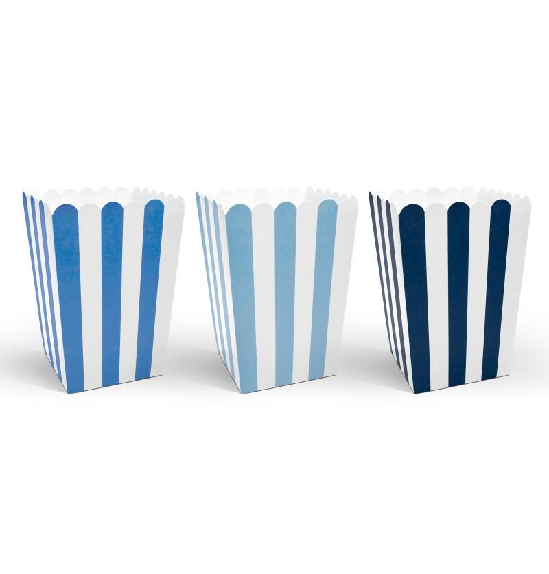 Set de 6 palomiteros variados con rayas azules  - Little Plane