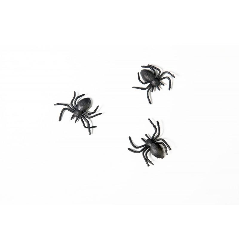 Set de 10 arañas negras de plástico - Halloween