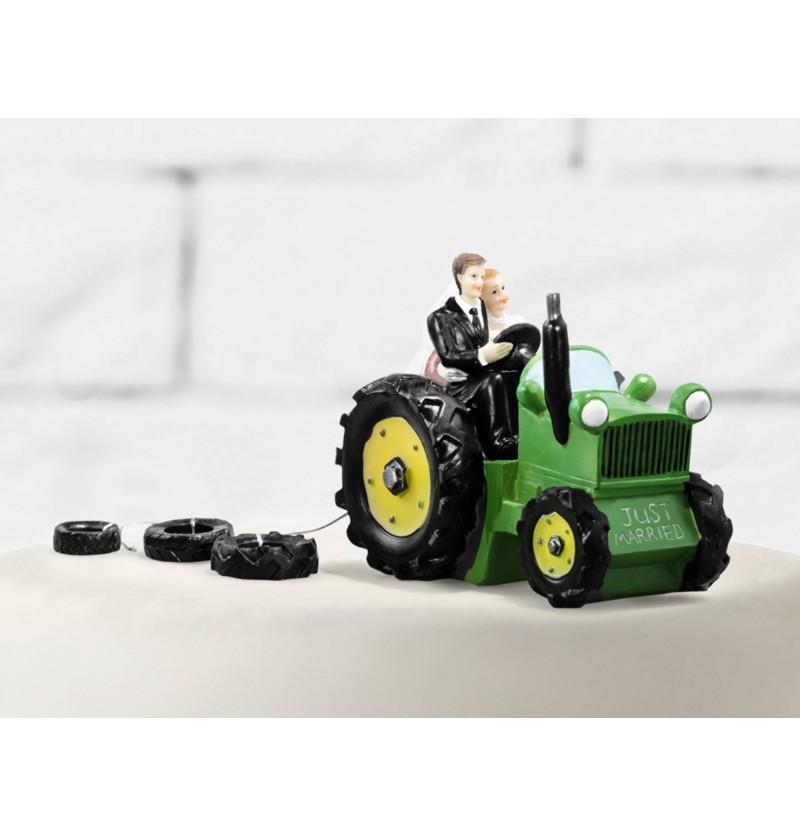 Figura para tarta de boda con novios en tractor