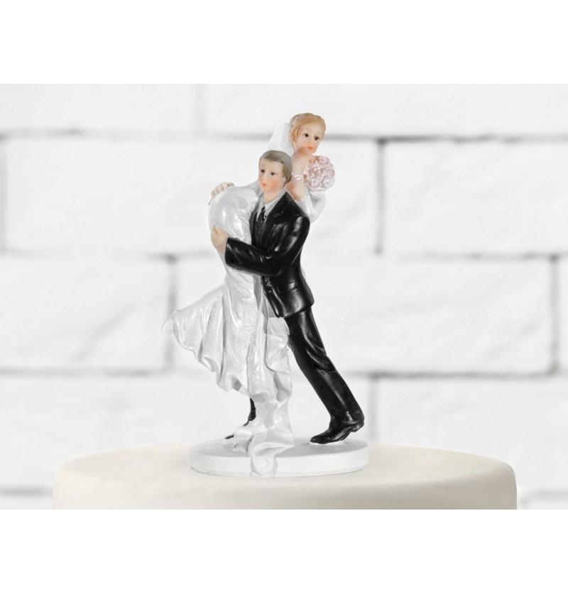 Figura para tarta de boda con novia en el hombro