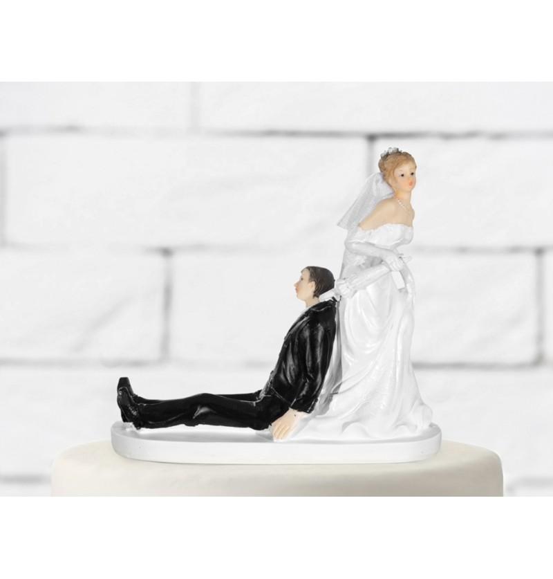 Figura para tarta de boda con novio cogido de la chaqueta