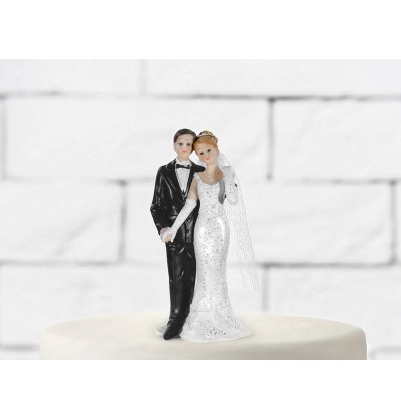 Figura para tarta de boda con novia castaña