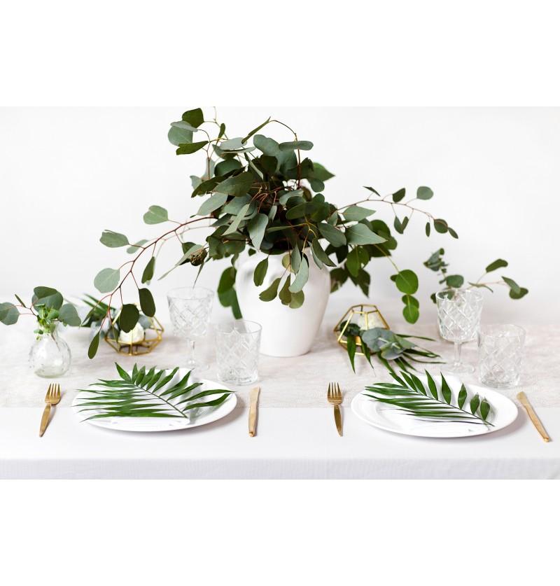 Camino de mesa blanco con estampado floral dorado de organza