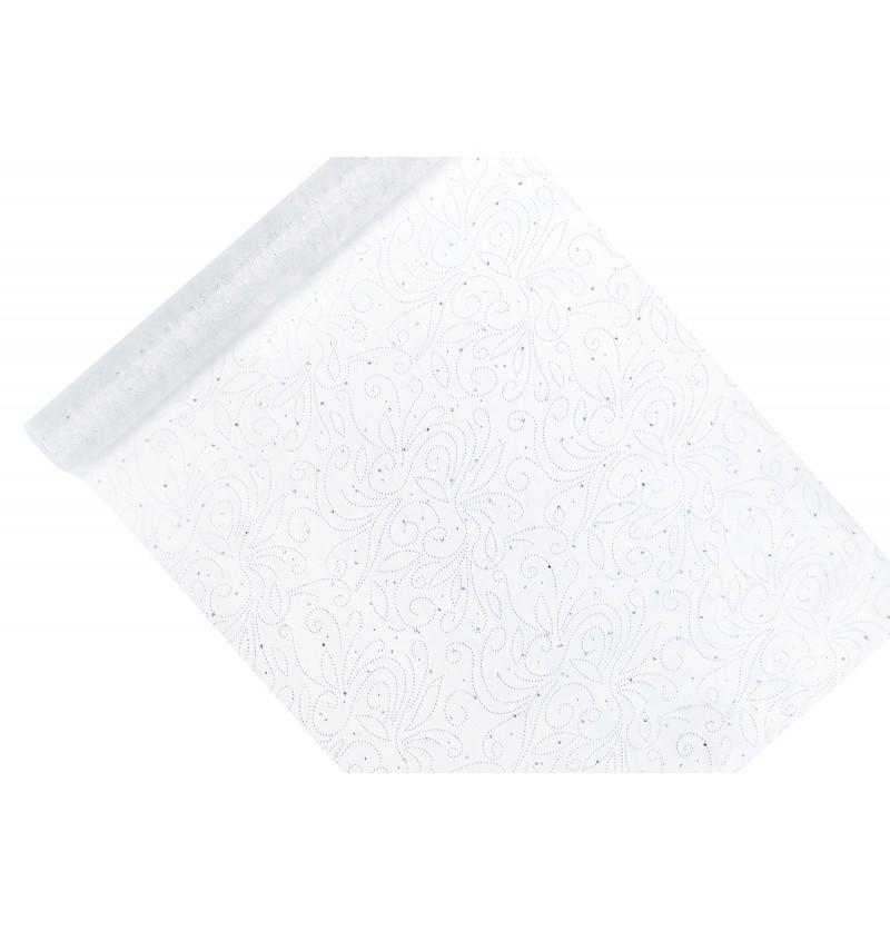 Camino de mesa blanco con estampado de perlas de plateadas de organza