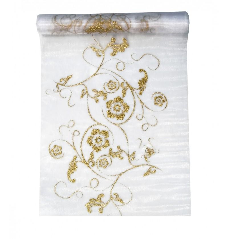 Camino de mesa blanco con estampado dorado de organza