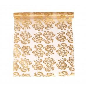 Camino de mesa blanco con estampado reversible dorado o plateado de organza