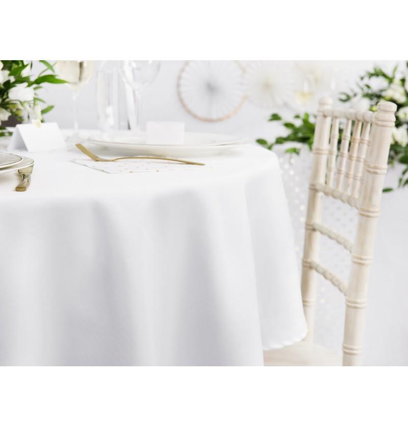 Mantel redondo blanco de tela de 230 cm
