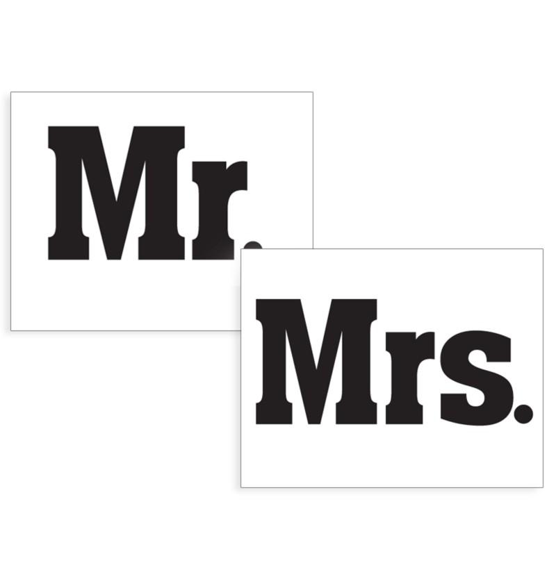 """Set de 2 pegatinas para la suela de los zapatos """"Mr and Mrs"""""""