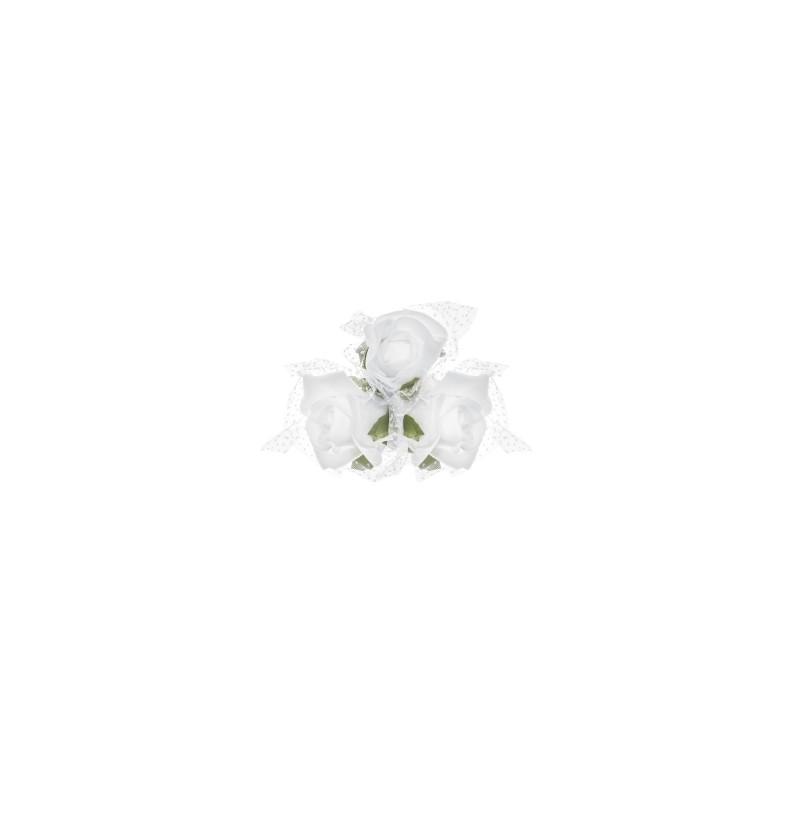 Set de 4 ramilletes de 3 rosas blancas para coche de novia
