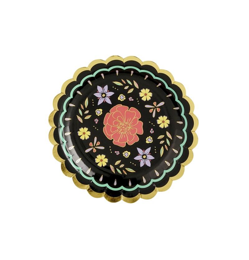 Set de 6 platos negros con flores multicolor de papel - Dia de Los Muertos Collection