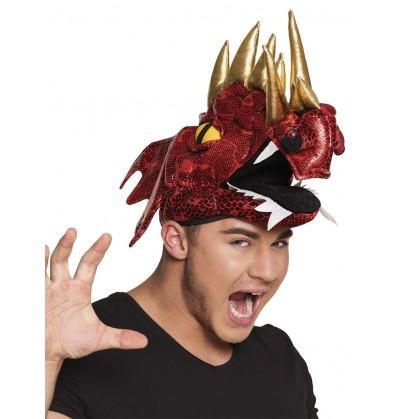 Gorro de dragón rojo con cuernos para adulto
