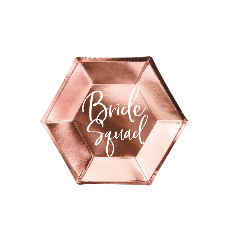 "Set de 6 platos oro rosa ""Bride Squad"" de papel - Rose Gold Bride To Be"
