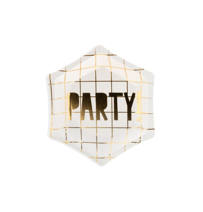 "Set de 6 platos pentagonales blanco y dorados ""Party"" de papel - Happy New Year Collection"