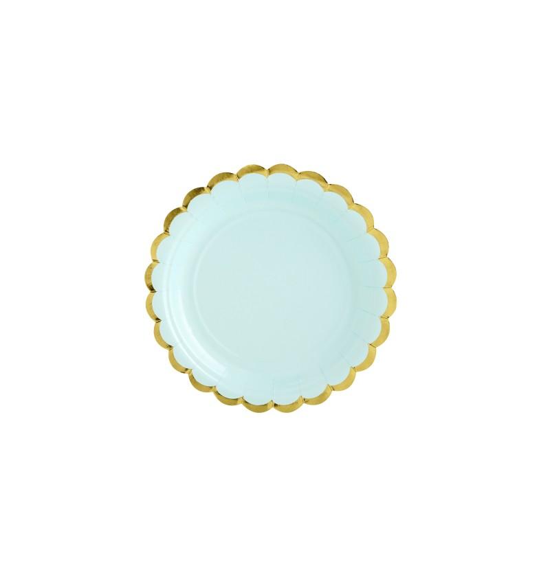 Set de 6 platos verde menta de papel - Yummy