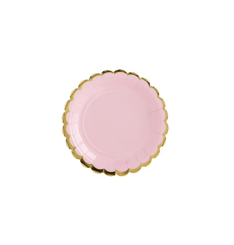 Set de 6 platos rosa pastel de papel - Yummy