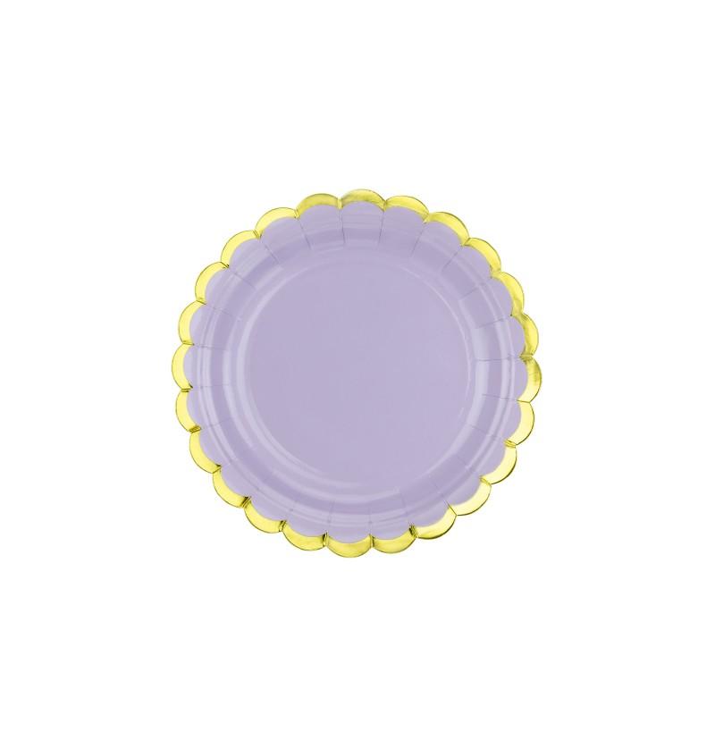 Set de 6 platos morados pastel de papel - Yummy