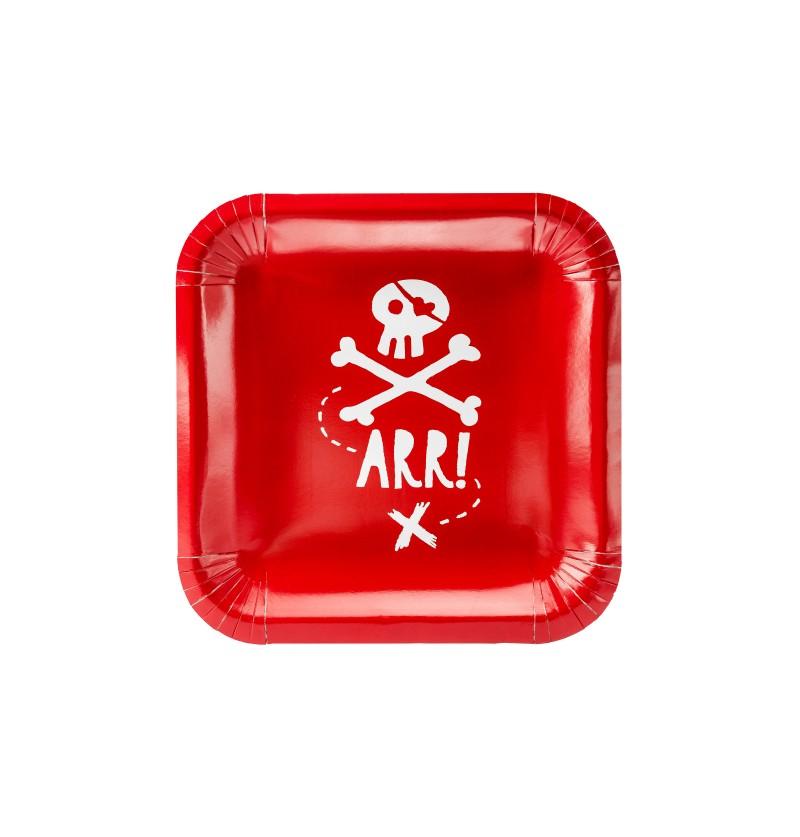 """Set de 6 platos rojos cuadrados """"Arr!"""" de papel - Pirates Party"""