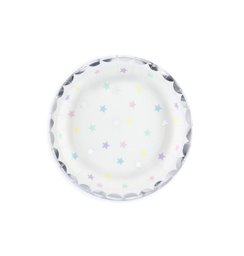 Set de 6 platos blancos con estrellas multicolor de papel - Unicorn