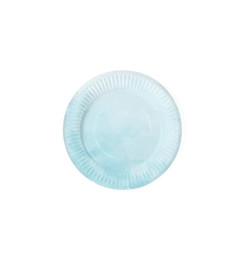 Set de 6 platos azules turquesa degradado de papel - Summer Time