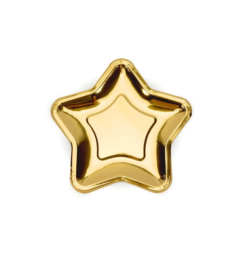 Set de 6 platos dorados con forma de estrella de papel - New Year's Eve & Carnival