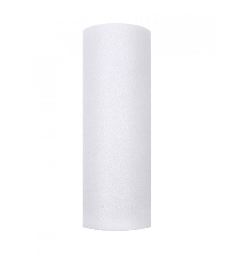 Rollo de tul blanco brillante de 15cm x 9m