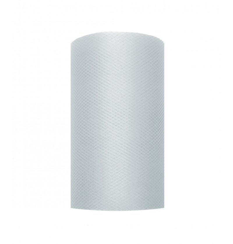 Rollo de tul gris de 8cm x 20m