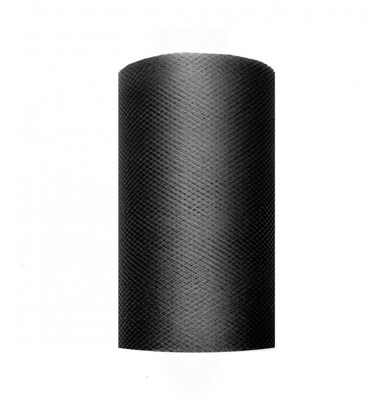 Rollo de tul negro de 8cm x 20m