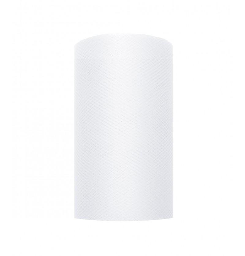 Rollo de tul blanco de 8cm x 20m