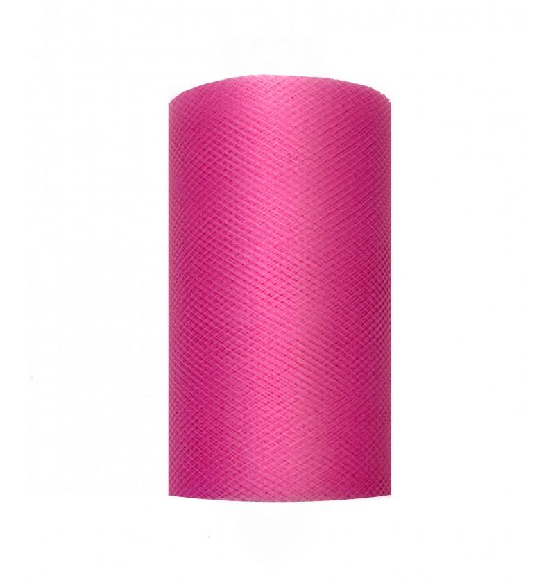 Rollo de tul rosa de 8cm x 20m