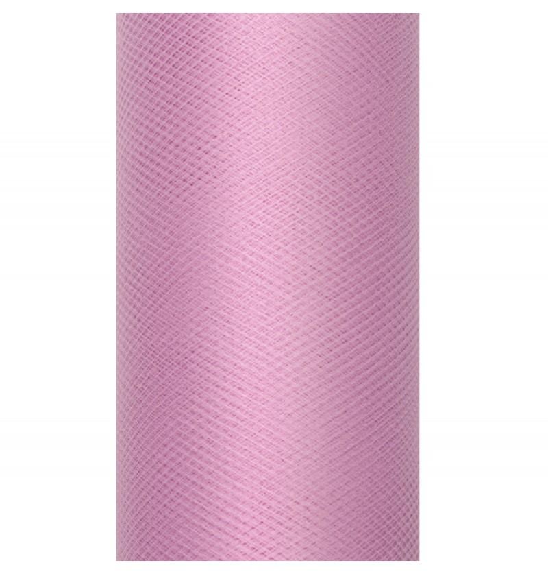 Rollo de tul rosa medio de 15cm x 9m