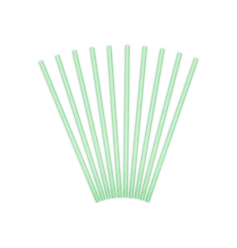 Set de 10 pajitas verdes menta de papel
