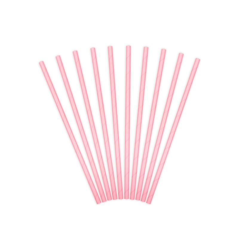 Set de 10 pajitas rosas pastel de papel
